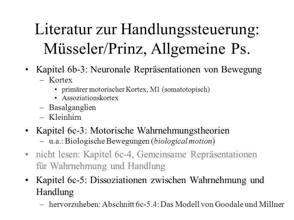 Literatur zur Handlungssteuerung: Müsseler/Prinz, Allgemeine Ps.