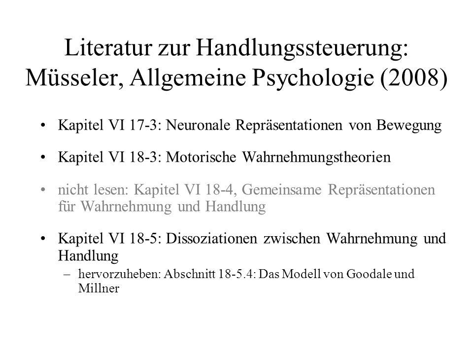 Literatur zur Handlungssteuerung: Müsseler, Allgemeine Psychologie (2008)