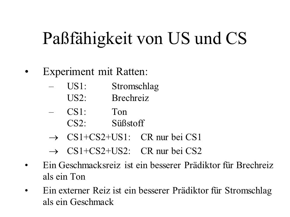 Paßfähigkeit von US und CS