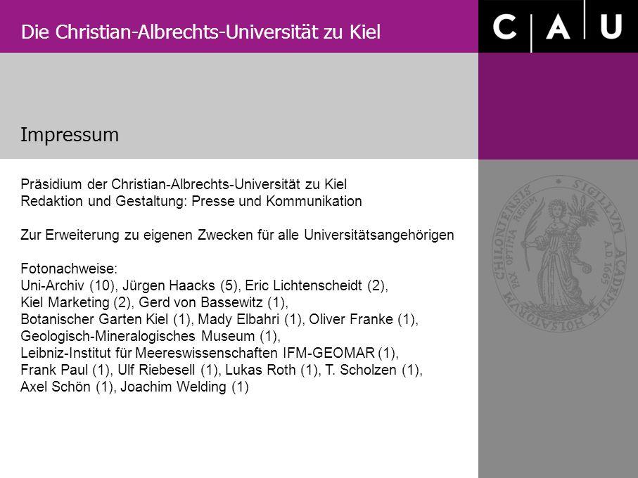 Impressum Präsidium der Christian-Albrechts-Universität zu Kiel