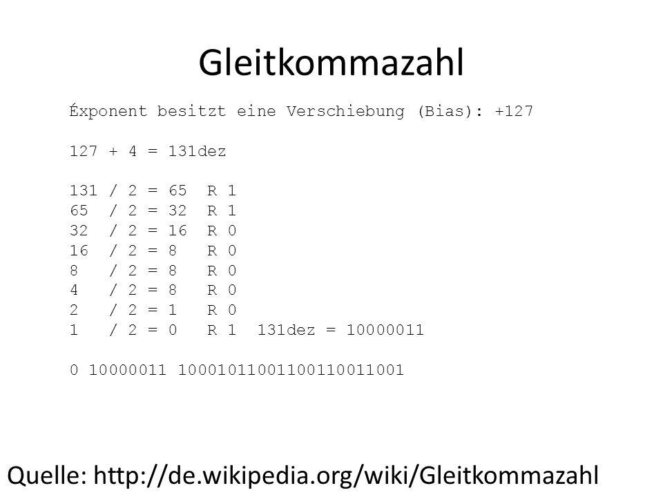 Gleitkommazahl Quelle: http://de.wikipedia.org/wiki/Gleitkommazahl