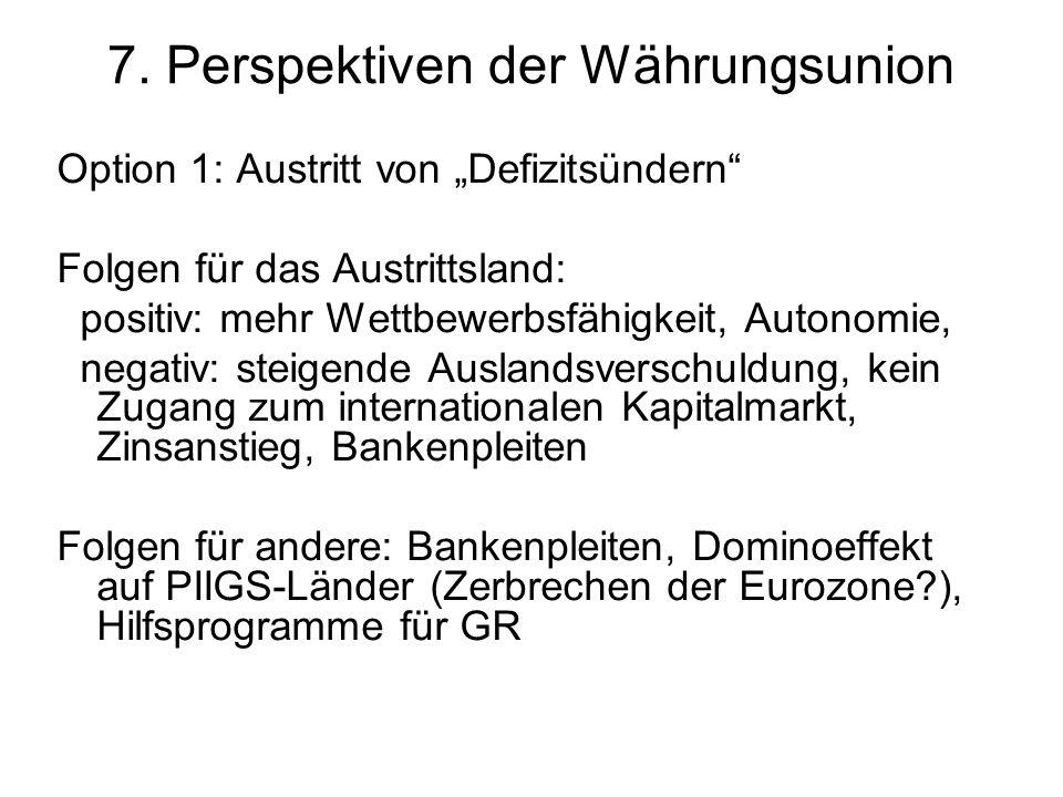7. Perspektiven der Währungsunion