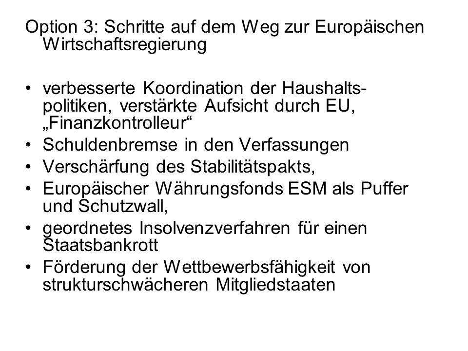 Option 3: Schritte auf dem Weg zur Europäischen Wirtschaftsregierung