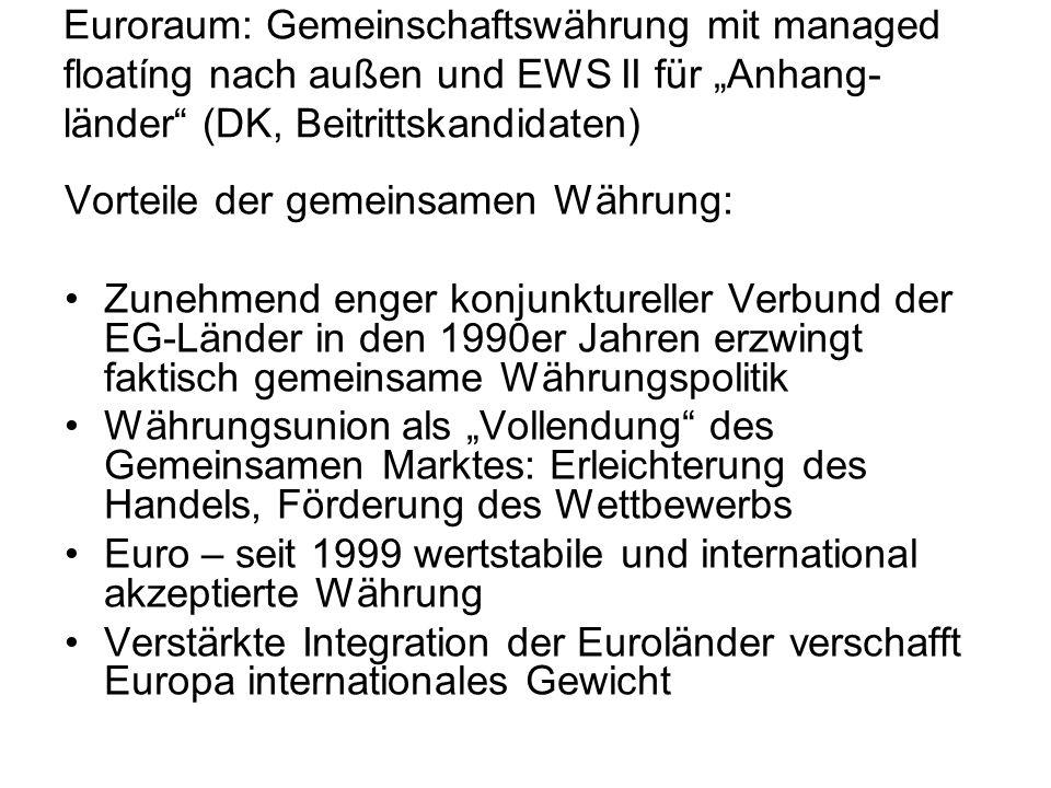 """Euroraum: Gemeinschaftswährung mit managed floatíng nach außen und EWS II für """"Anhang-länder (DK, Beitrittskandidaten)"""