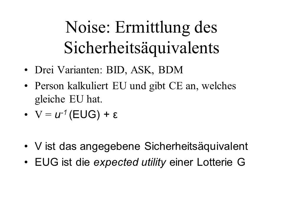 Noise: Ermittlung des Sicherheitsäquivalents