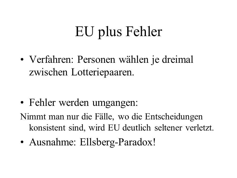 EU plus Fehler Verfahren: Personen wählen je dreimal zwischen Lotteriepaaren. Fehler werden umgangen: