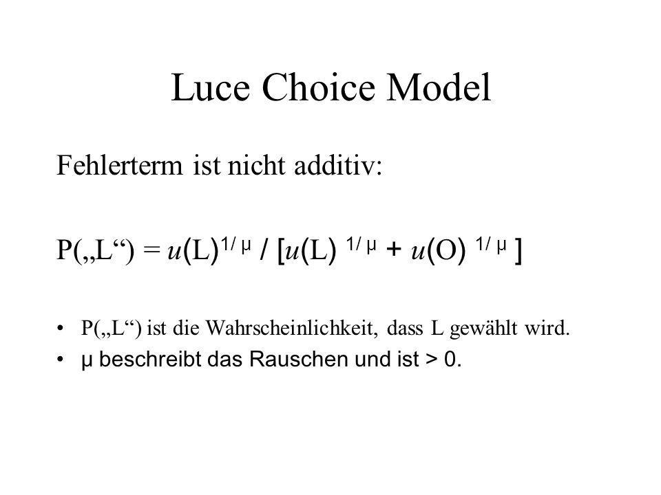Luce Choice Model Fehlerterm ist nicht additiv: