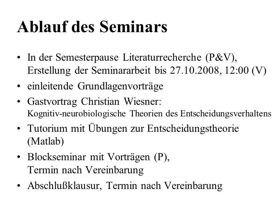 Ablauf des Seminars In der Semesterpause Literaturrecherche (P&V), Erstellung der Seminararbeit bis 27.10.2008, 12:00 (V)
