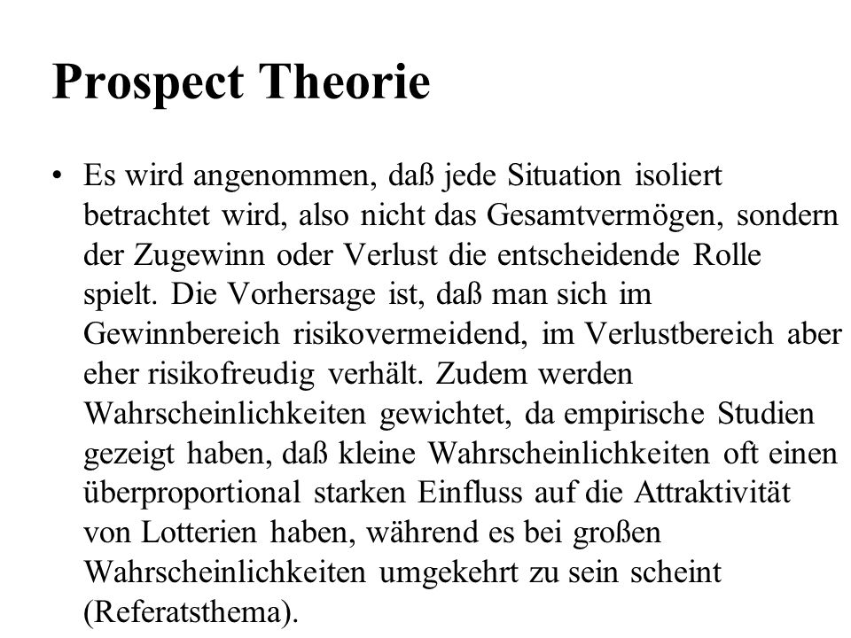 Prospect Theorie