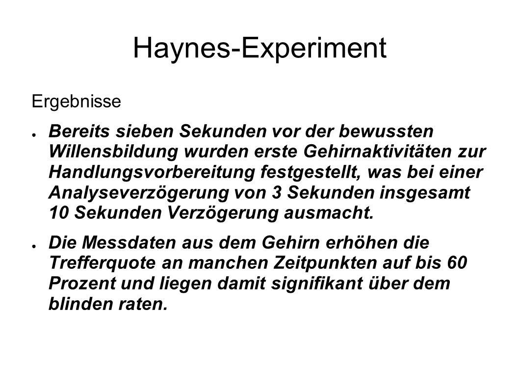 Haynes-Experiment Ergebnisse