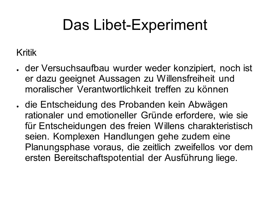 Das Libet-Experiment Kritik