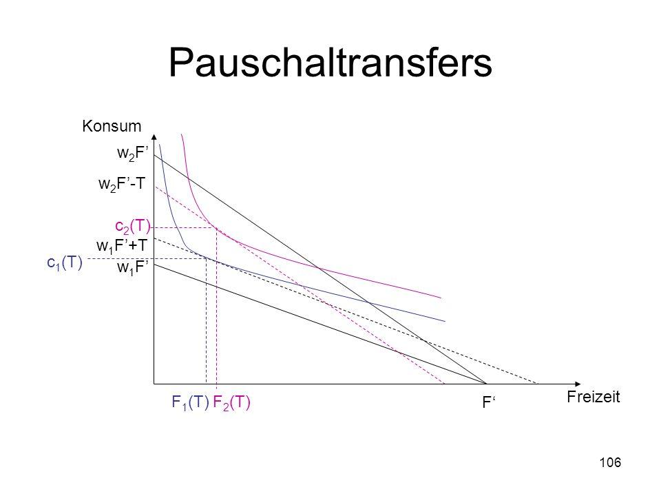 Pauschaltransfers Konsum c2(T) F2(T) w2F' c1(T) F1(T) w2F'-T w1F'+T