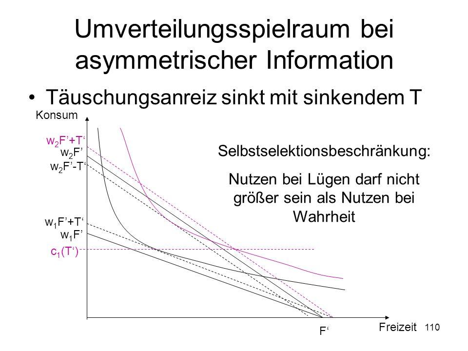 Umverteilungsspielraum bei asymmetrischer Information