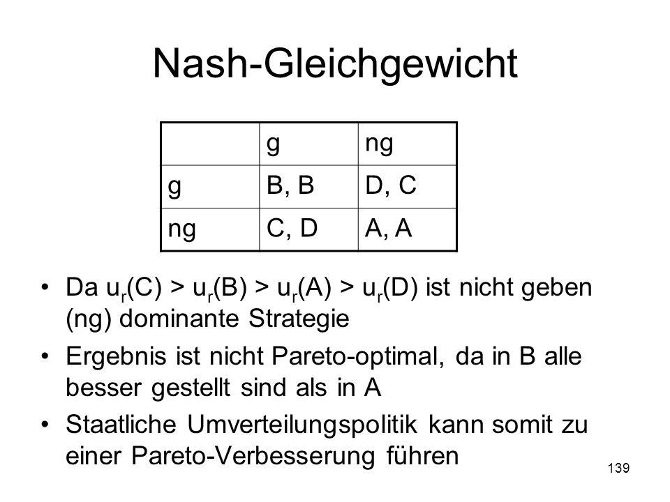 Nash-Gleichgewicht Da ur(C) > ur(B) > ur(A) > ur(D) ist nicht geben (ng) dominante Strategie.