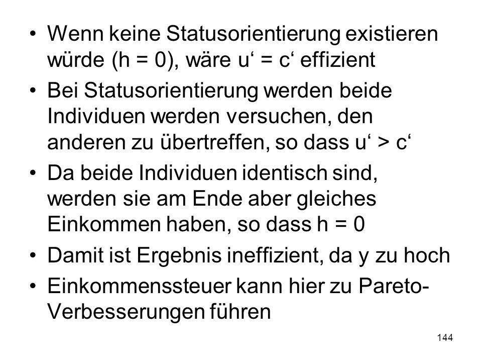 Wenn keine Statusorientierung existieren würde (h = 0), wäre u' = c' effizient