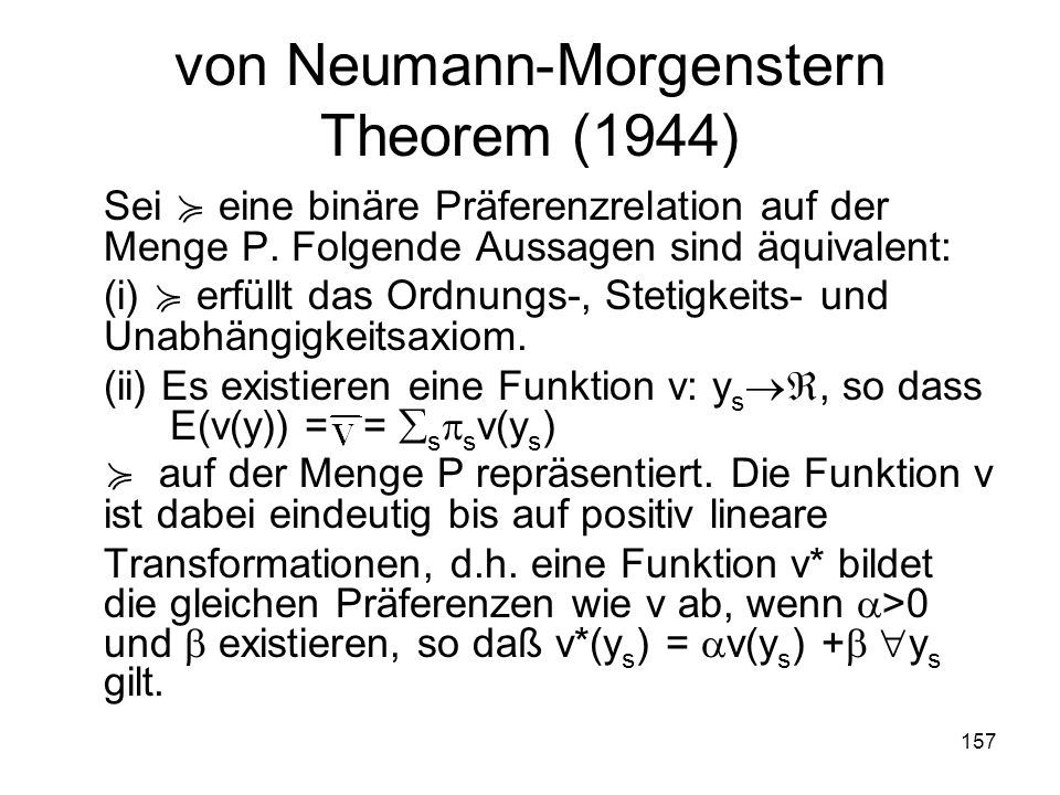 von Neumann-Morgenstern Theorem (1944)