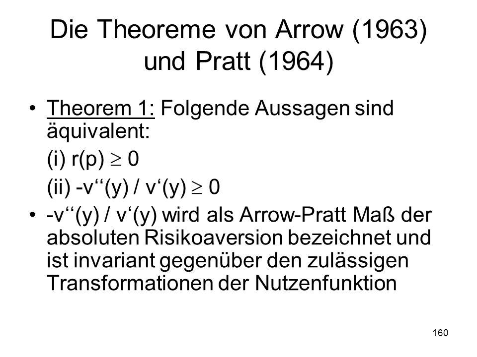 Die Theoreme von Arrow (1963) und Pratt (1964)