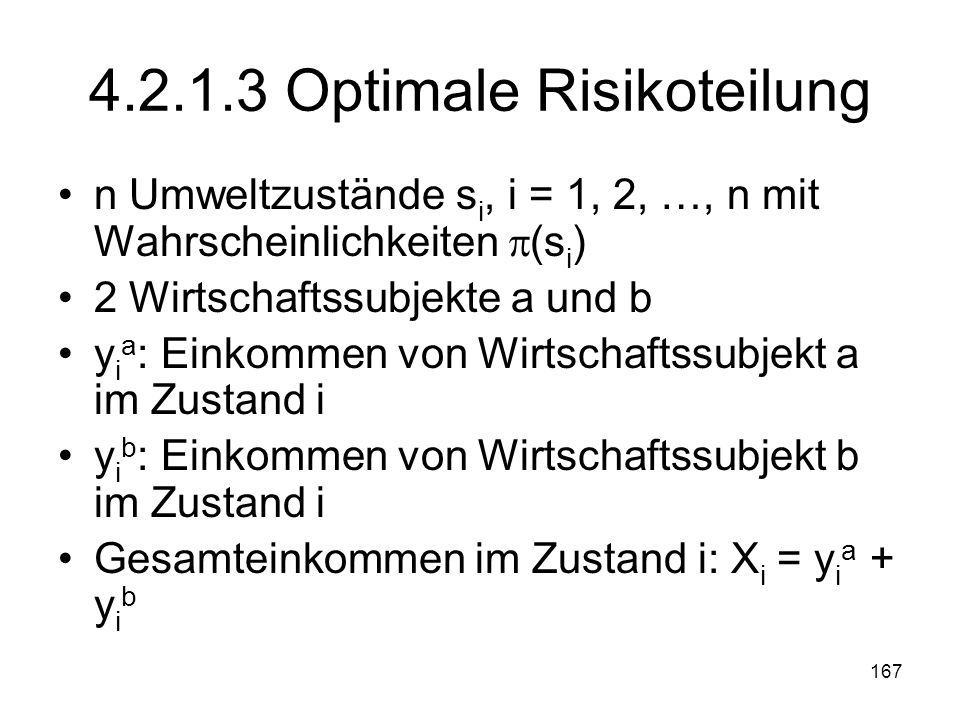 4.2.1.3 Optimale Risikoteilung