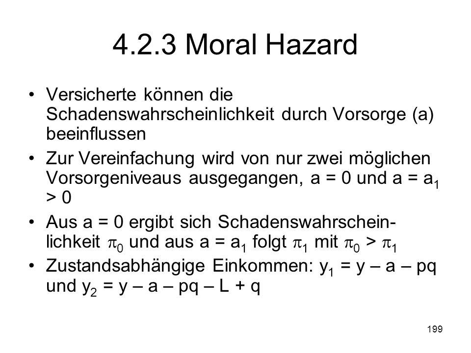 4.2.3 Moral Hazard Versicherte können die Schadenswahrscheinlichkeit durch Vorsorge (a) beeinflussen.