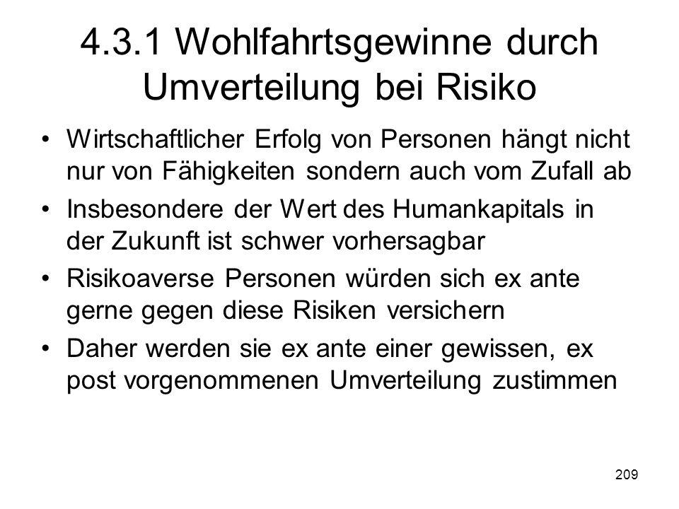 4.3.1 Wohlfahrtsgewinne durch Umverteilung bei Risiko