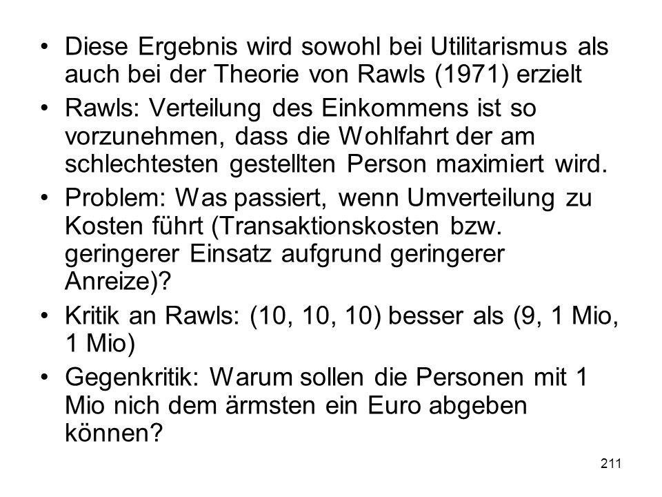 Diese Ergebnis wird sowohl bei Utilitarismus als auch bei der Theorie von Rawls (1971) erzielt