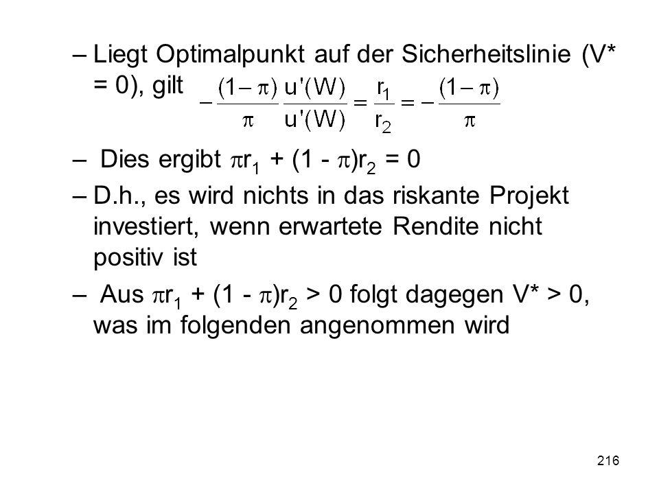 Liegt Optimalpunkt auf der Sicherheitslinie (V* = 0), gilt