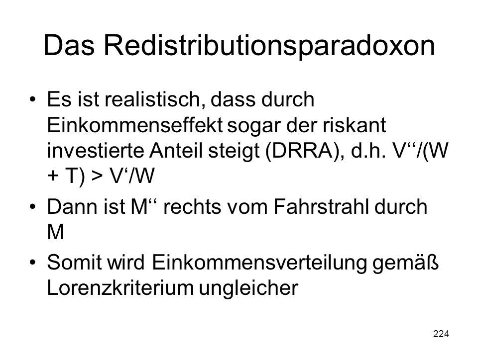 Das Redistributionsparadoxon