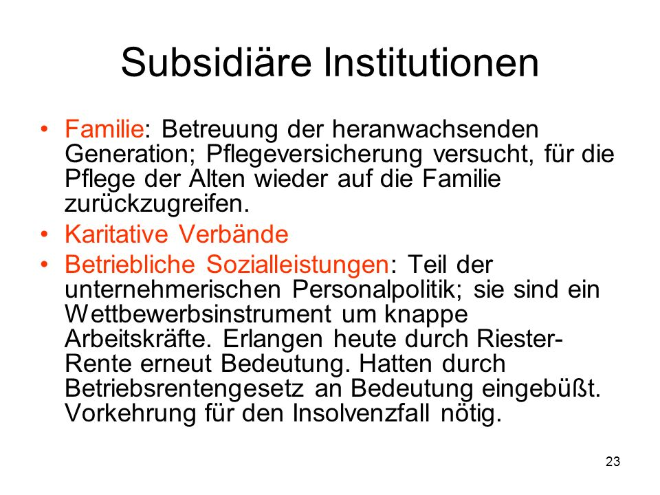 Subsidiäre Institutionen