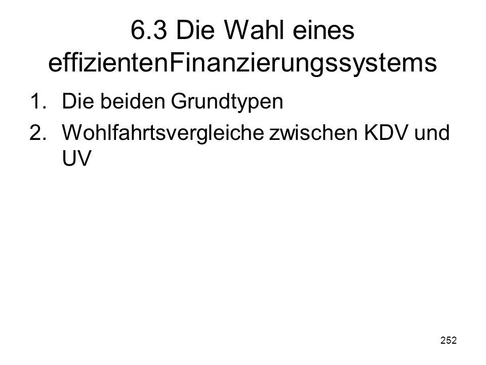 6.3 Die Wahl eines effizientenFinanzierungssystems