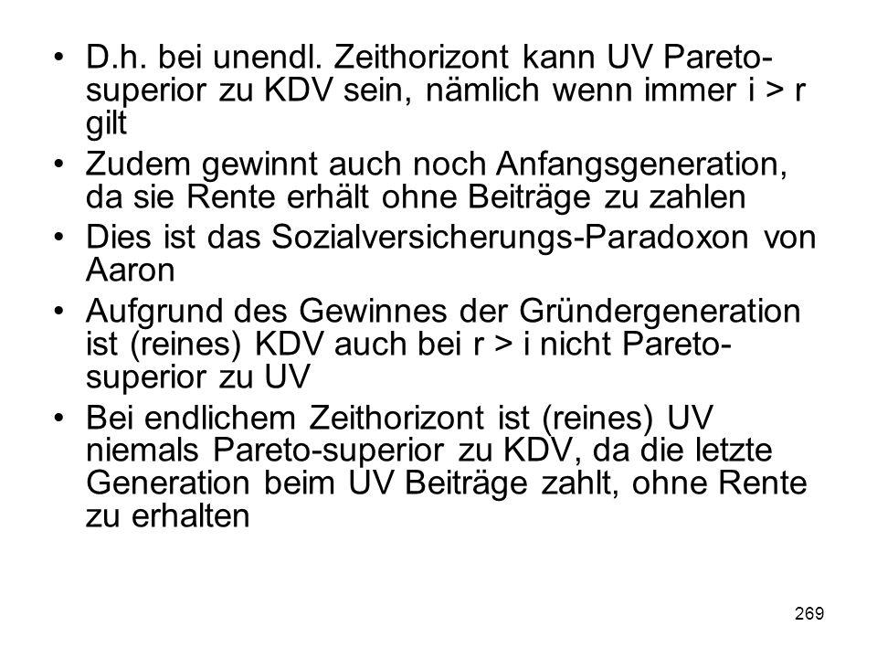 D.h. bei unendl. Zeithorizont kann UV Pareto-superior zu KDV sein, nämlich wenn immer i > r gilt