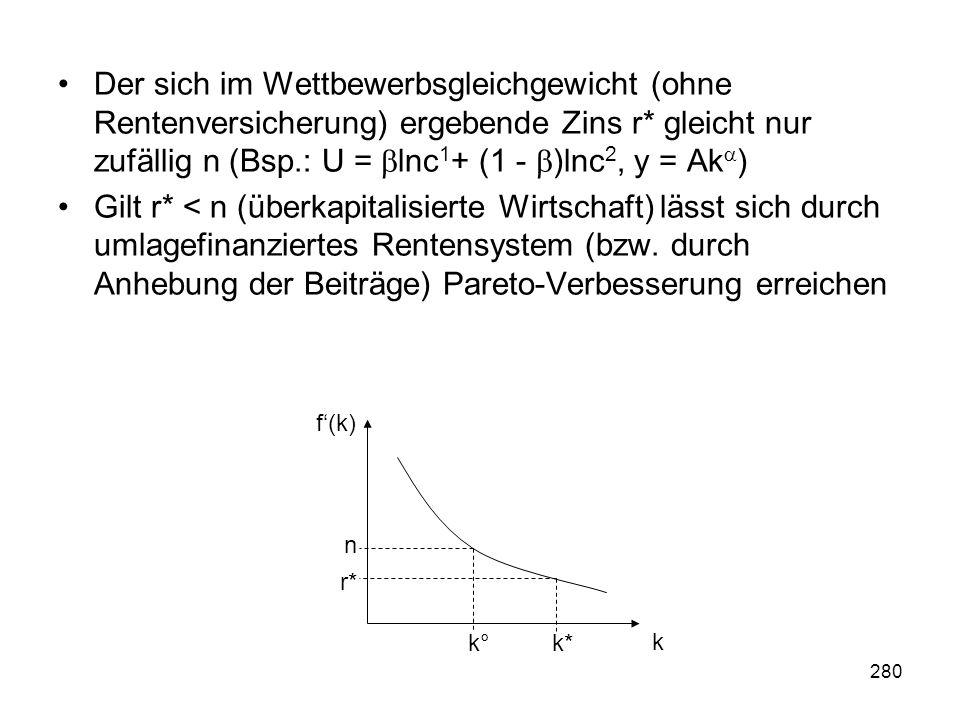 Der sich im Wettbewerbsgleichgewicht (ohne Rentenversicherung) ergebende Zins r* gleicht nur zufällig n (Bsp.: U = lnc1+ (1 - )lnc2, y = Ak)