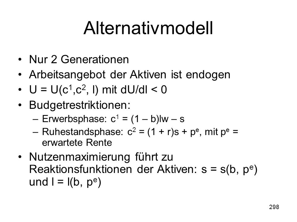 Alternativmodell Nur 2 Generationen