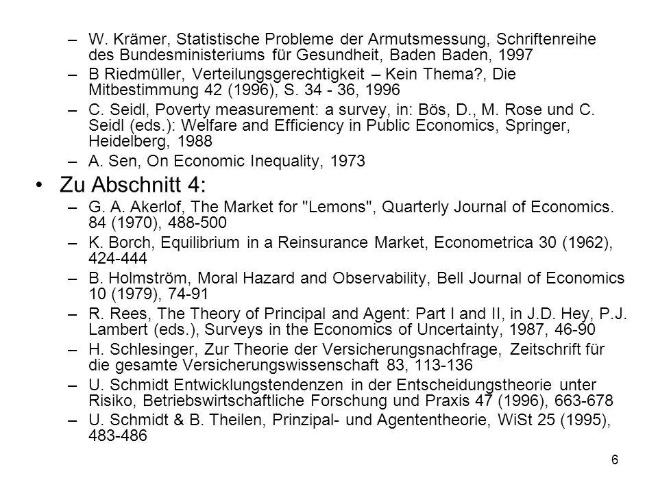 W. Krämer, Statistische Probleme der Armutsmessung, Schriftenreihe des Bundesministeriums für Gesundheit, Baden Baden, 1997