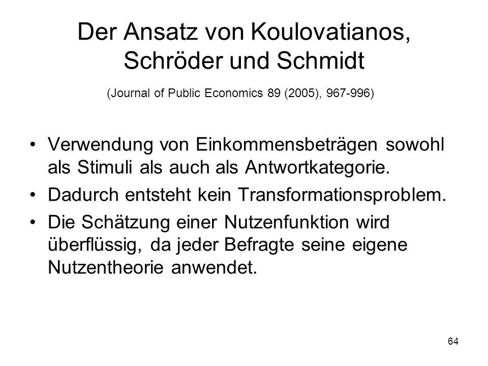 Der Ansatz von Koulovatianos, Schröder und Schmidt