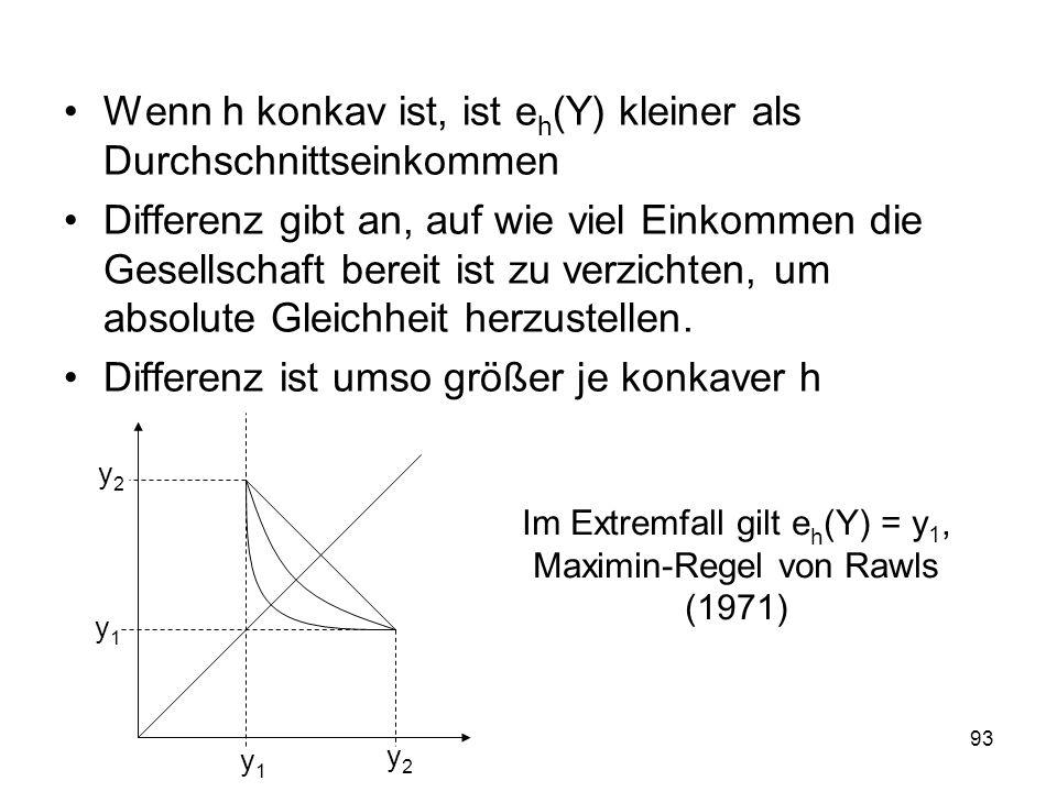 Im Extremfall gilt eh(Y) = y1, Maximin-Regel von Rawls (1971)