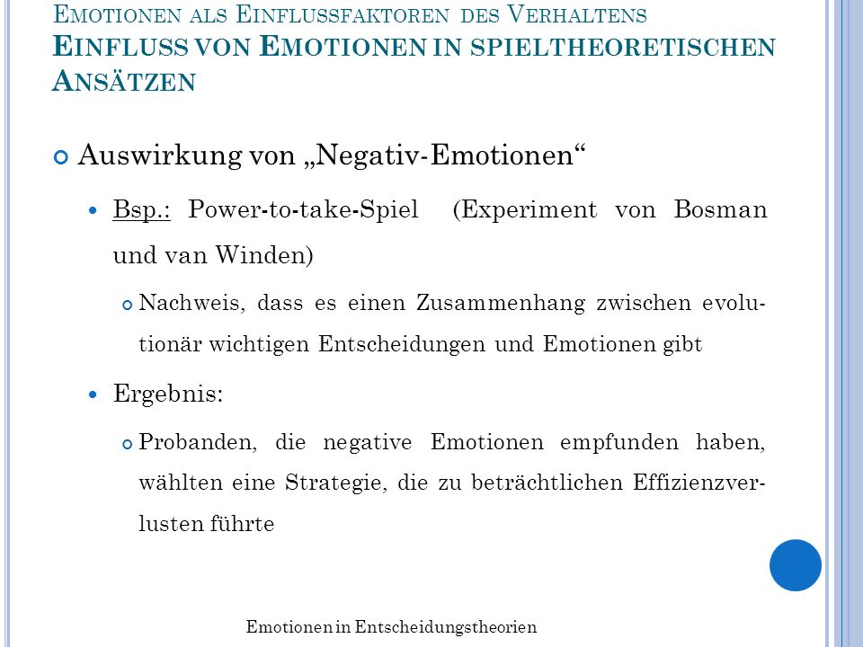 Emotionen in Entscheidungstheorien