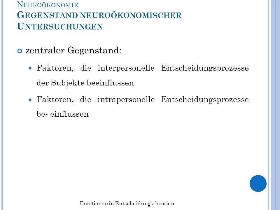 Neuroökonomie Gegenstand neuroökonomischer Untersuchungen