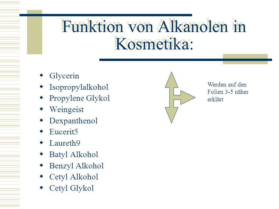 Funktion von Alkanolen in Kosmetika: