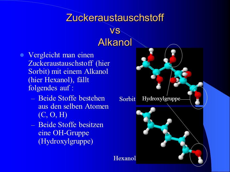 Zuckeraustauschstoff vs Alkanol