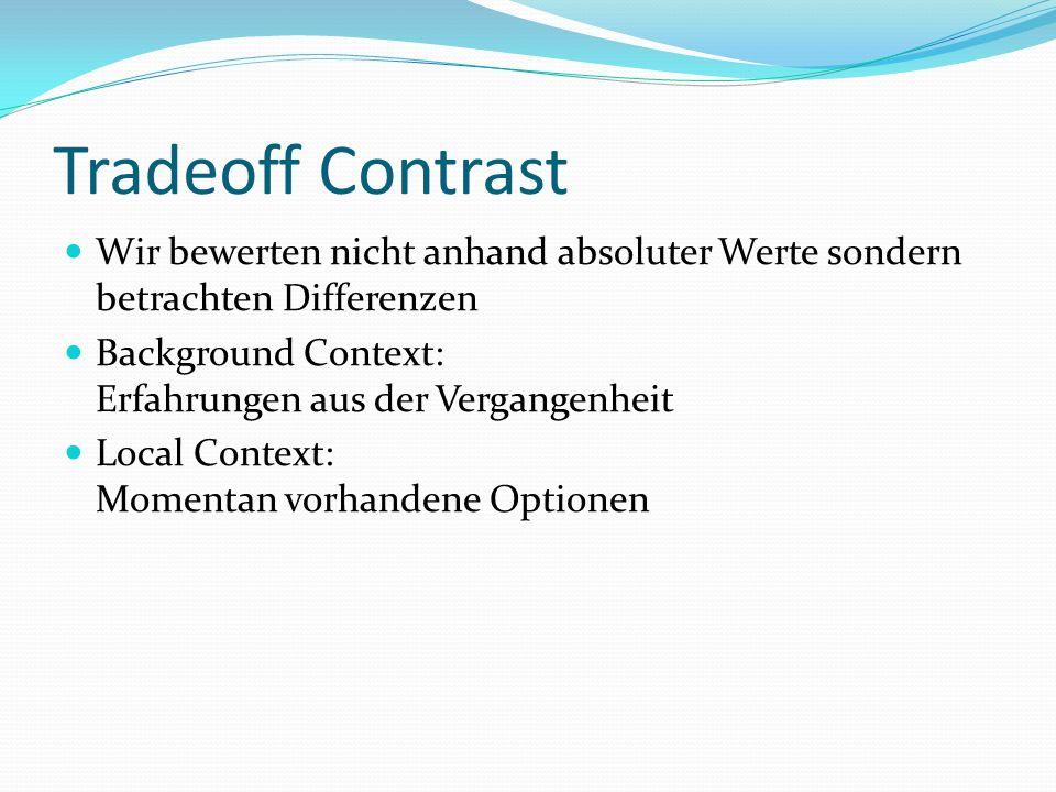 Tradeoff Contrast Wir bewerten nicht anhand absoluter Werte sondern betrachten Differenzen. Background Context: Erfahrungen aus der Vergangenheit.
