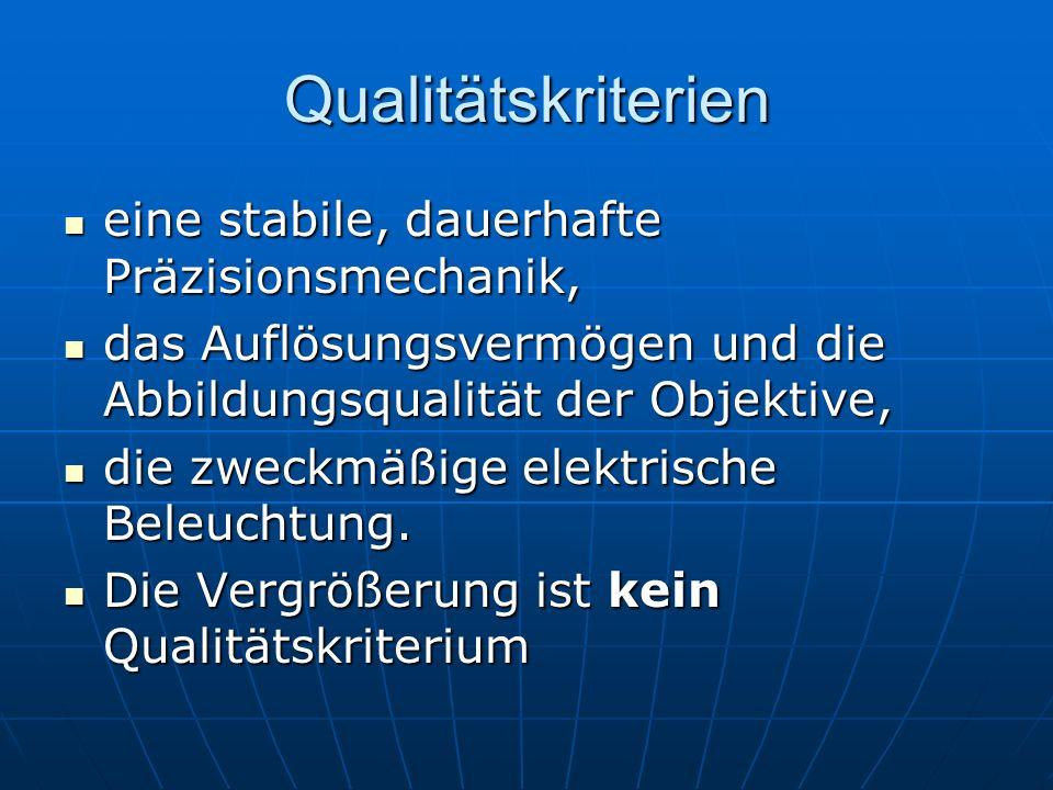 Qualitätskriterien eine stabile, dauerhafte Präzisionsmechanik,