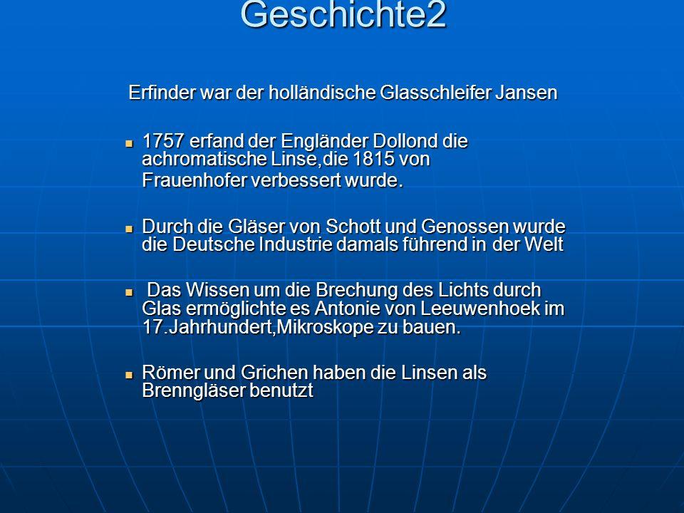 Geschichte2 Erfinder war der holländische Glasschleifer Jansen