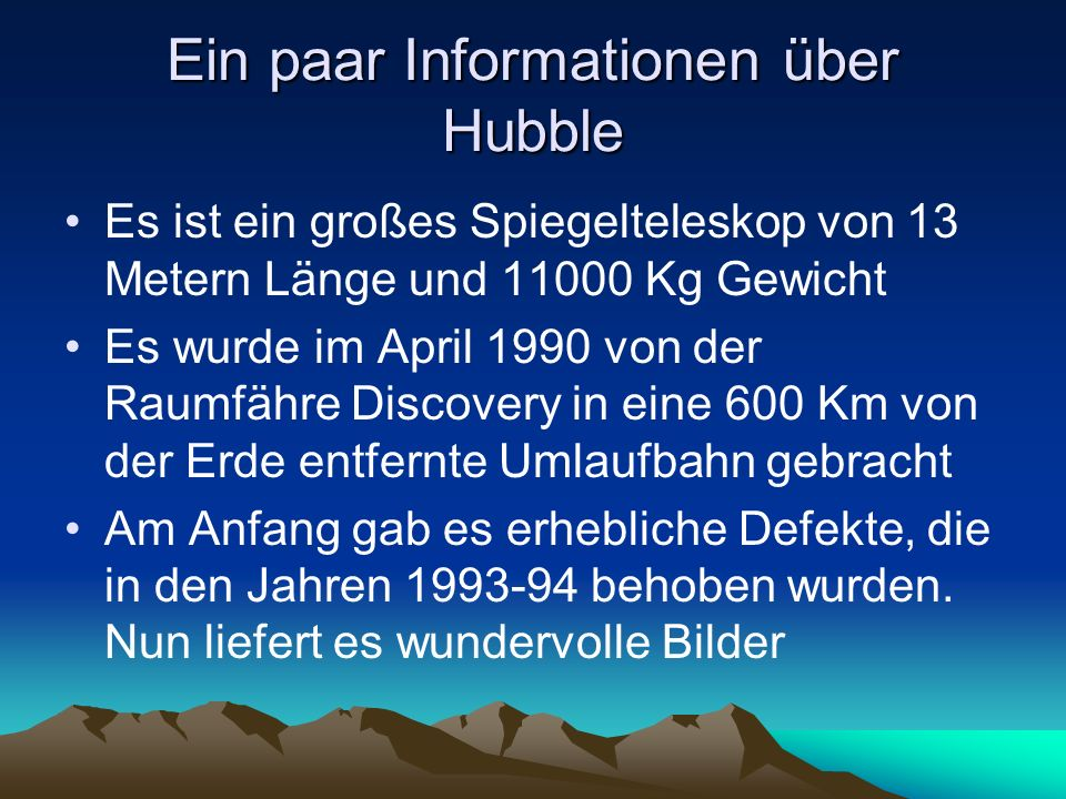 Ein paar Informationen über Hubble