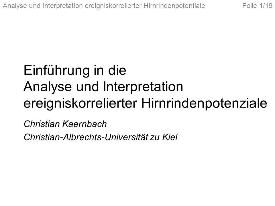 Christian Kaernbach Christian-Albrechts-Universität zu Kiel