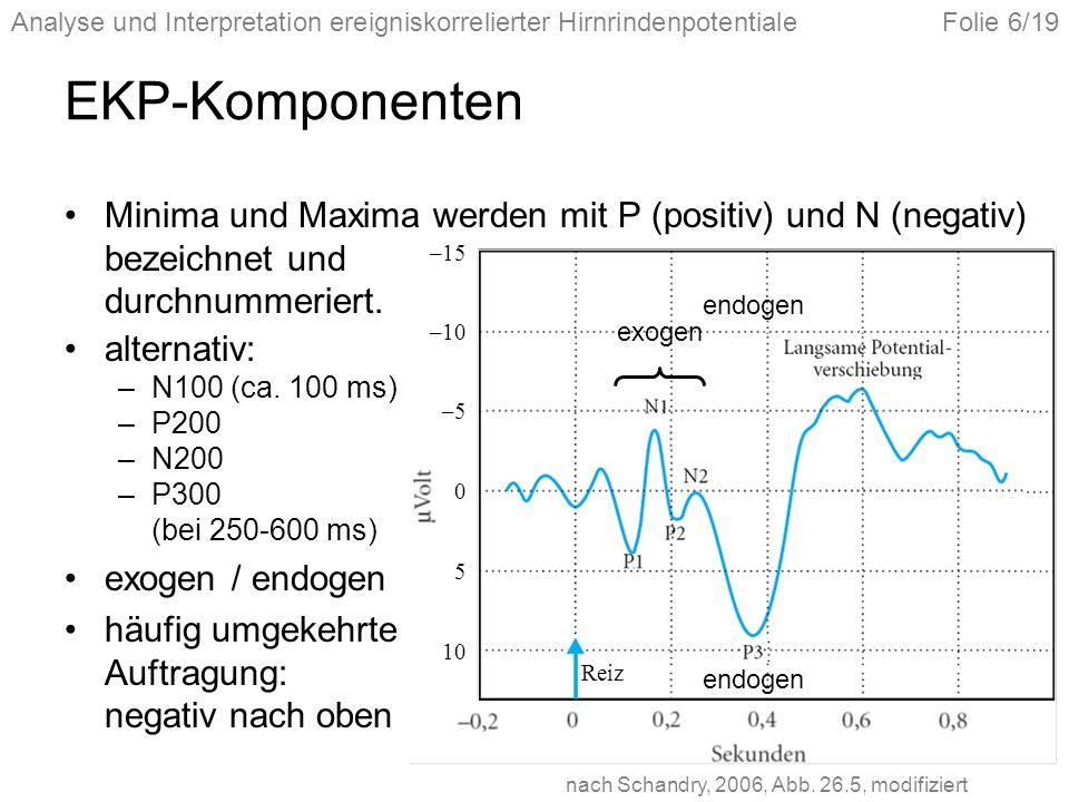 EKP-Komponenten Minima und Maxima werden mit P (positiv) und N (negativ) bezeichnet und durchnummeriert.