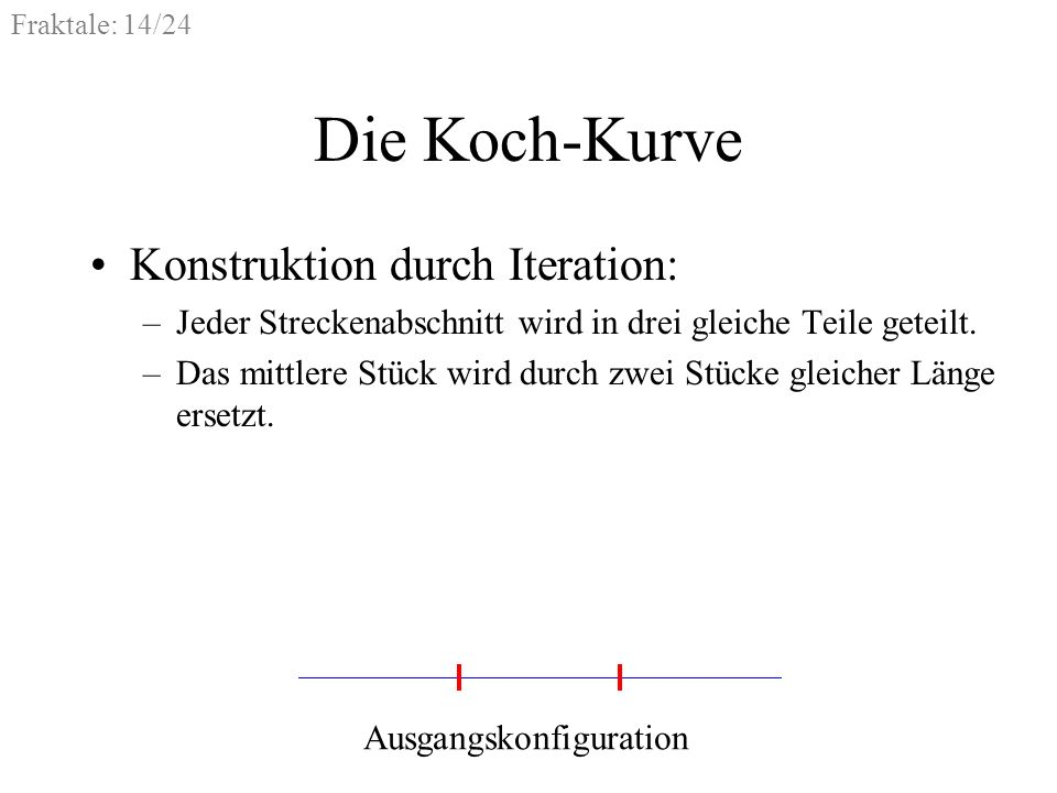 Die Koch-Kurve Konstruktion durch Iteration:
