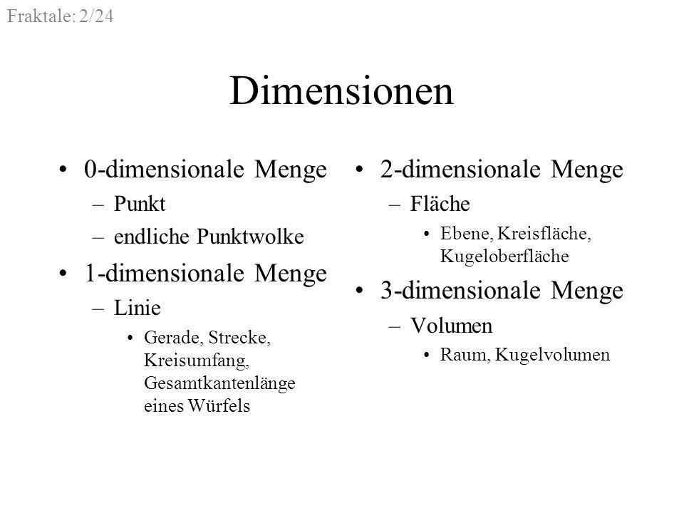 Dimensionen 0-dimensionale Menge 1-dimensionale Menge