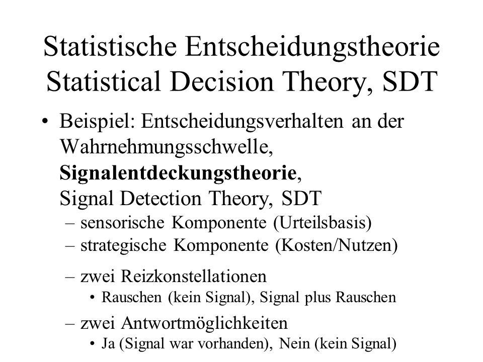 Statistische Entscheidungstheorie Statistical Decision Theory, SDT