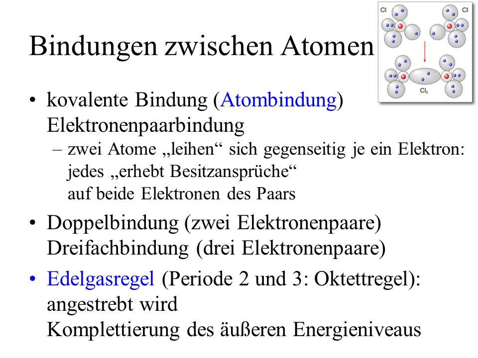 Bindungen zwischen Atomen