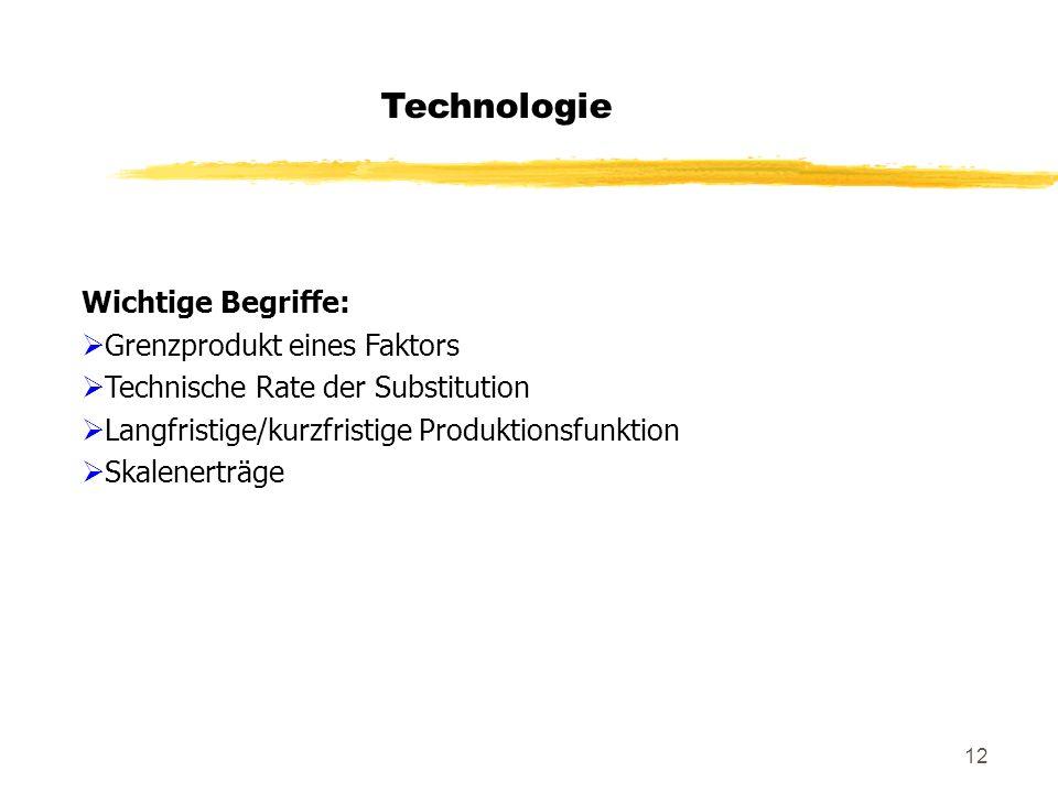 Technologie Wichtige Begriffe: Grenzprodukt eines Faktors